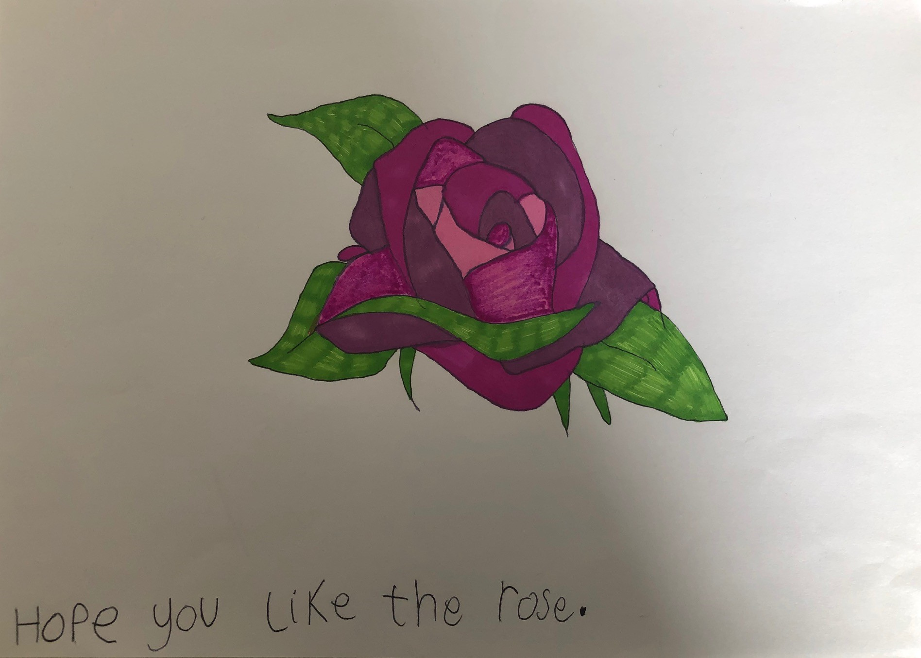 Hope you like my rose - by 9 year old