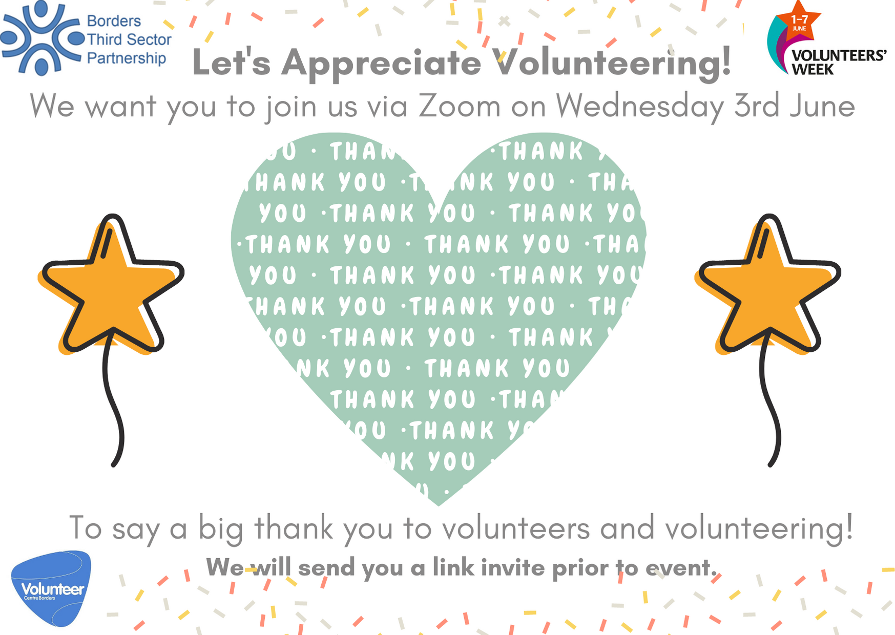 Lets Appreciate Volunteering Zoom event invite