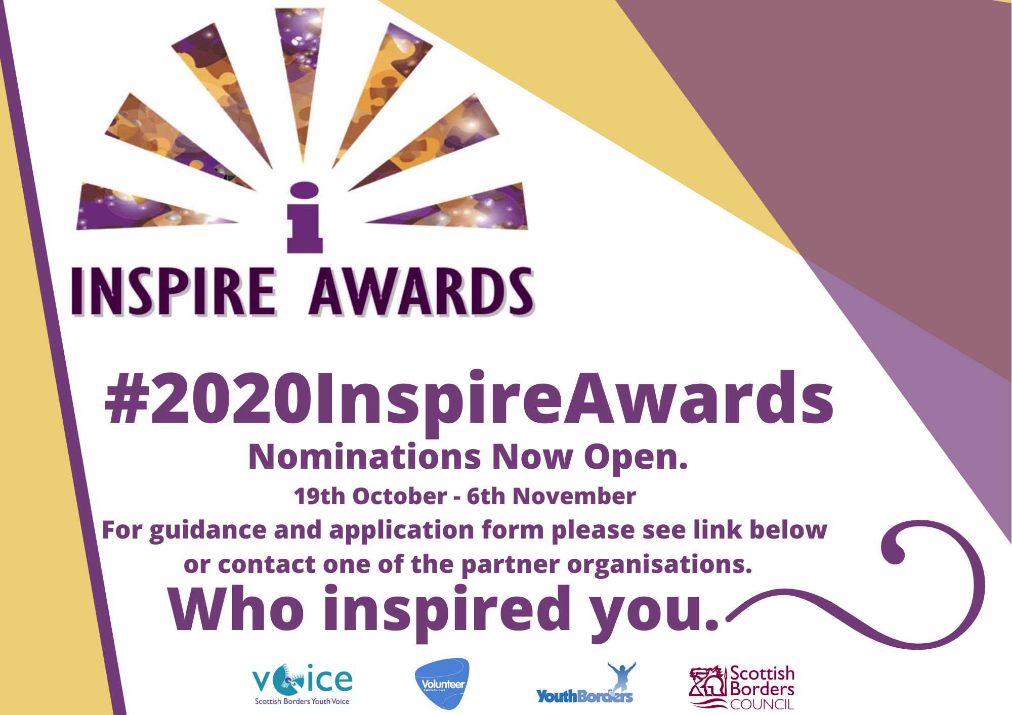 Nominations Now Open 2020InsipreAwards  Facebook and Website